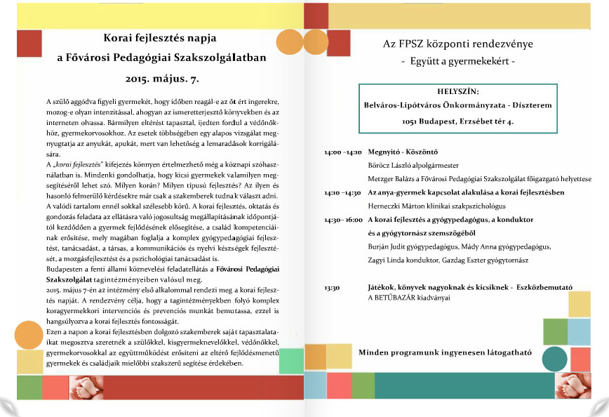 A Korai Fejlesztés Napja 2015 – Programfüzet